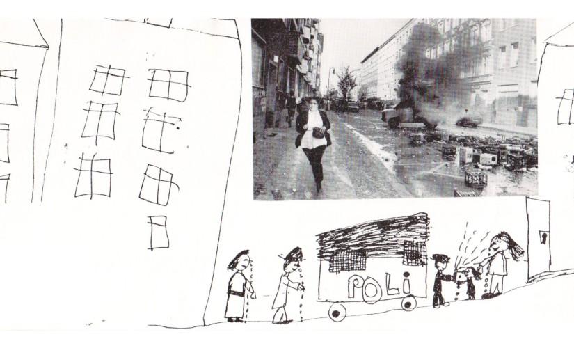 Kreuzberger Kinder malen wie sie den 1. Mai erlebthaben