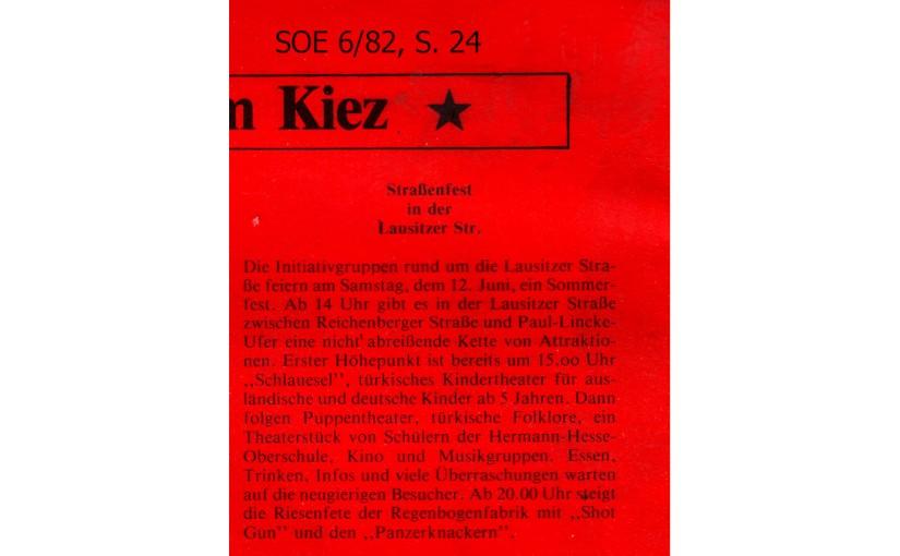1982 | Fest in der LausitzerStraße